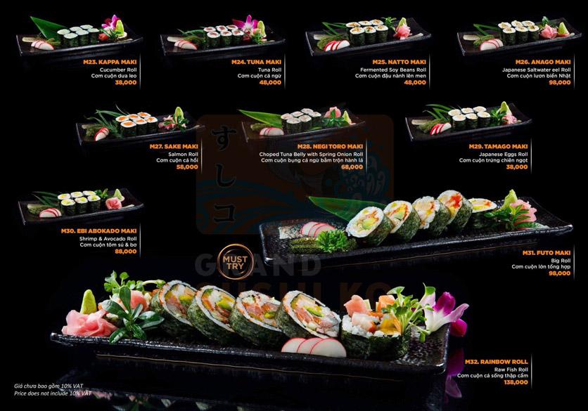 Menu Grand Sushi KO - Xuân Thủy 12