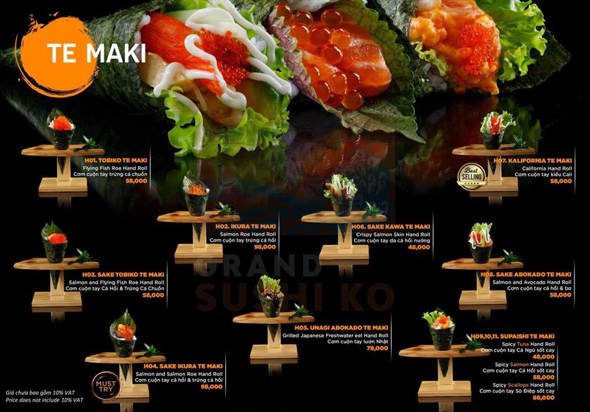 Menu Grand Sushi KO - Xuân Thủy 13