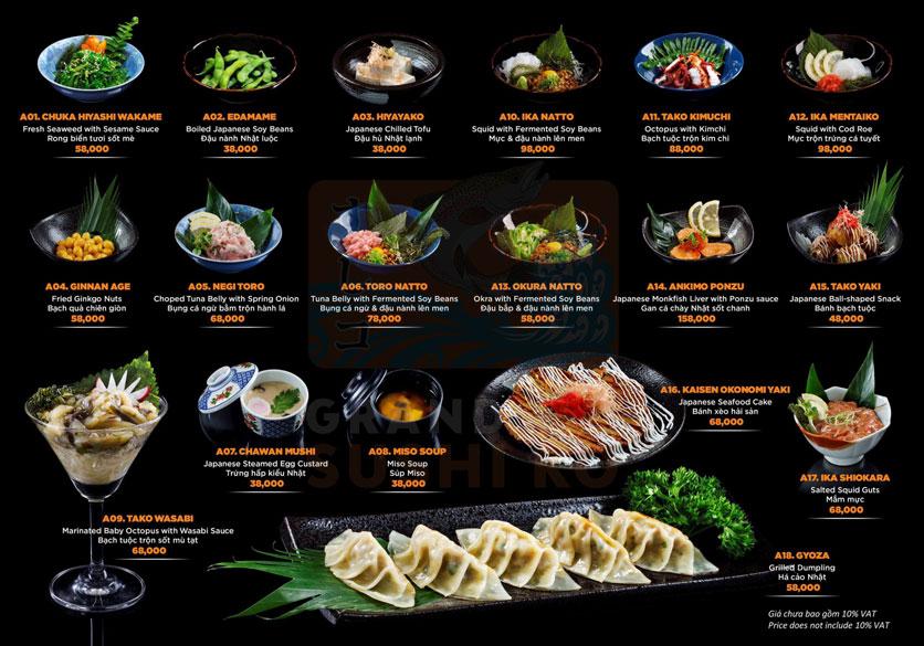 Menu Grand Sushi KO - Xuân Thủy 2