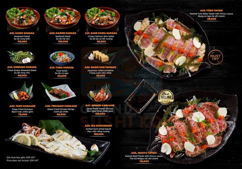 Menu Grand Sushi KO - Xuân Thủy 3