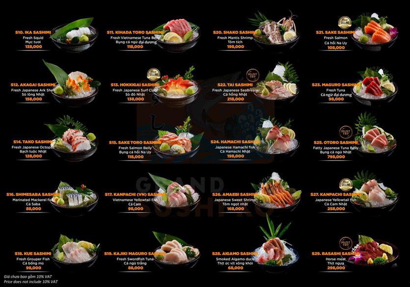 Menu Grand Sushi KO - Xuân Thủy 7