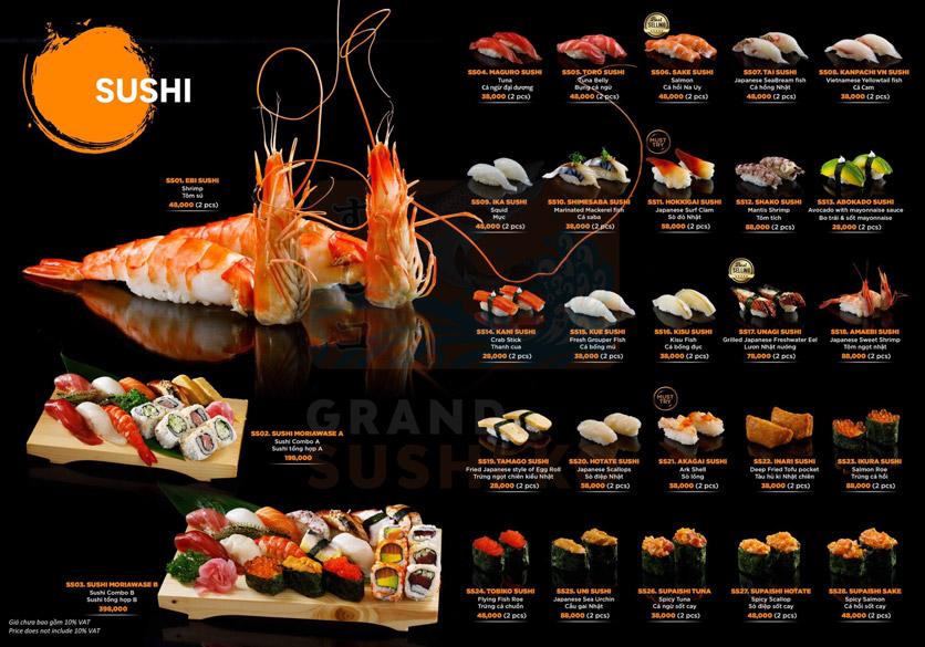 Menu Grand Sushi KO - Xuân Thủy 9