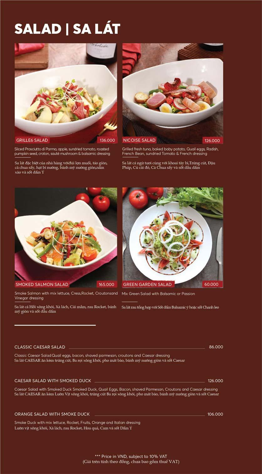 Menu GRILLE6 Steakhouse - Lê Văn Hưu 8