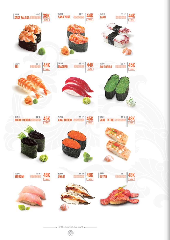 Menu Hadu.Sushi - Xã Đàn     9