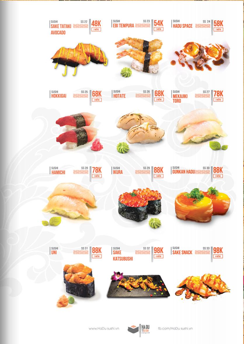 Menu Hadu.Sushi - Xã Đàn     10