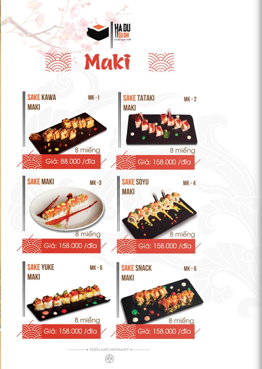 Menu Hadu.Sushi - Xã Đàn     3