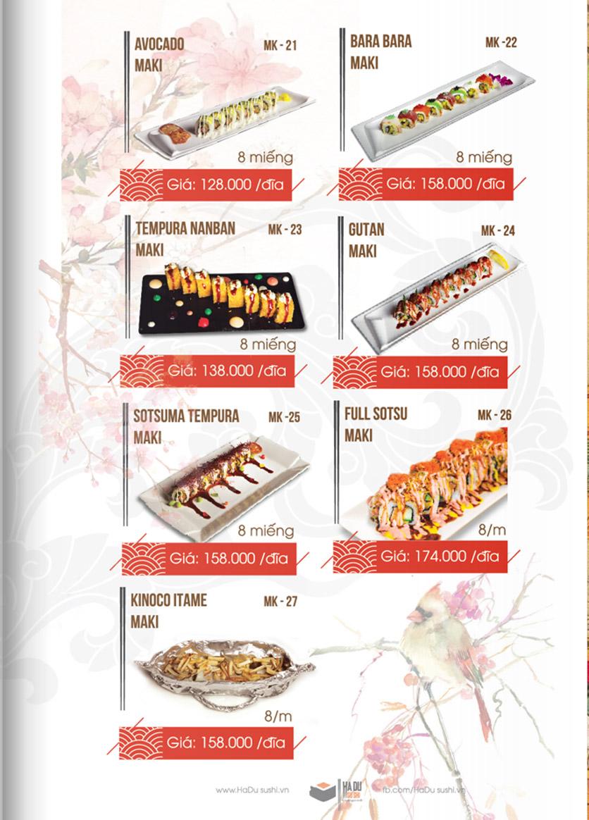Menu Hadu.Sushi - Xã Đàn     6