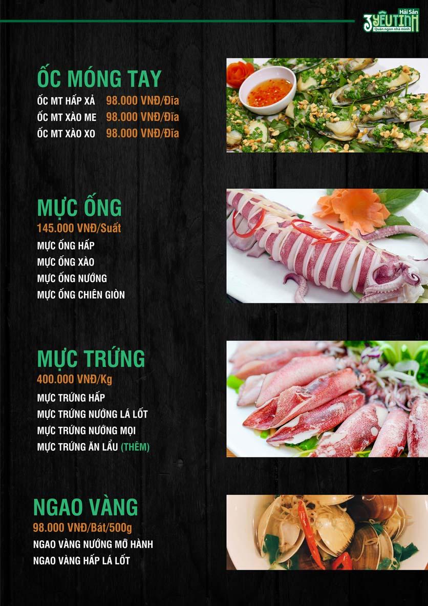 Menu Hải Sản 3 Yêu Tinh - Trần Quang Diệu 10