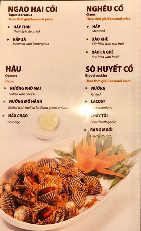 Menu Hải Sản Sao Biển - Nguyễn Giản Thanh 11