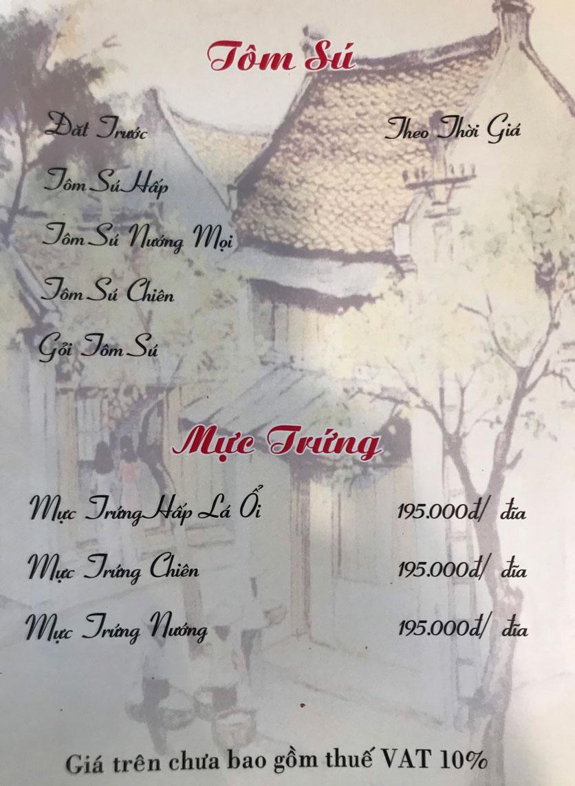 Menu Hà Nội Phố - Hàm Nghi 13