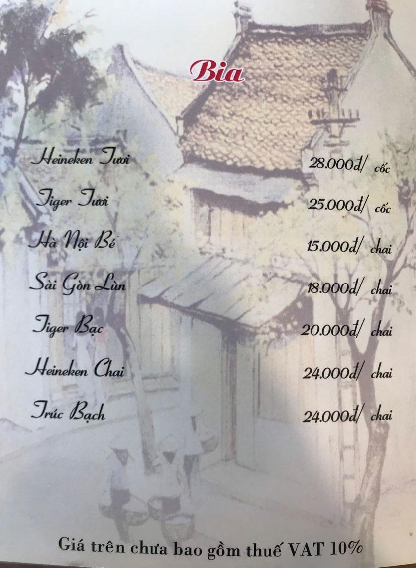 Menu Hà Nội Phố - Hàm Nghi 22
