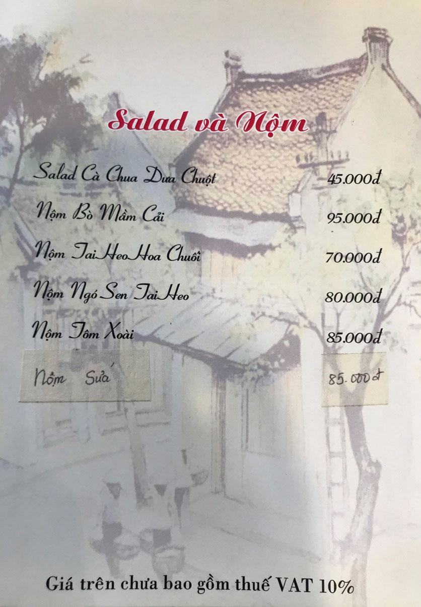 Menu Hà Nội Phố - Hàm Nghi 3