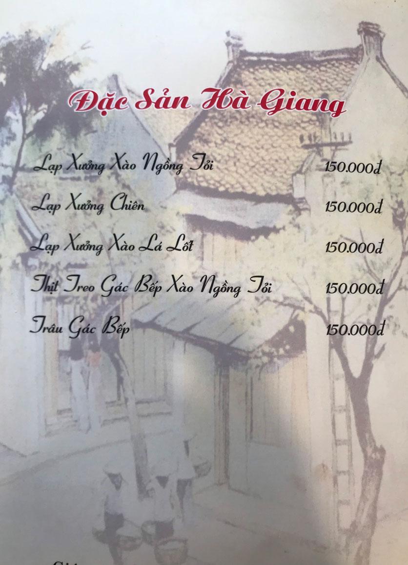Menu Hà Nội Phố - Hàm Nghi 8