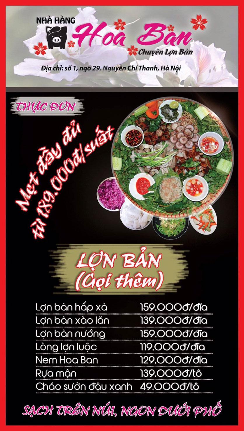 Menu Hoa Ban - Nguyễn Chí Thanh 1