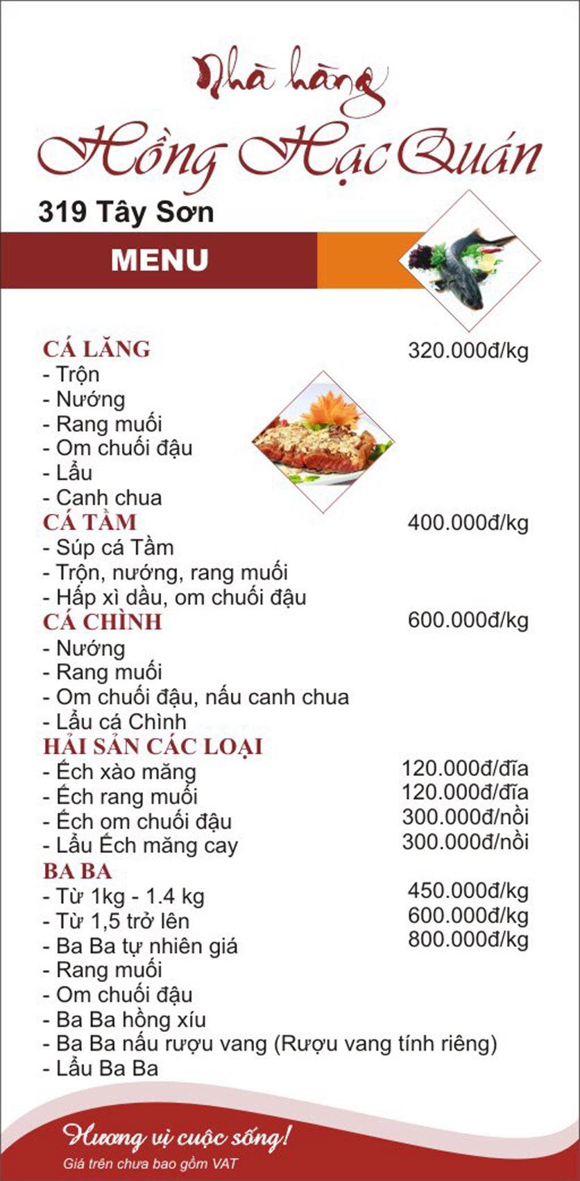 Menu Hồng Hạc - Tây Sơn 2