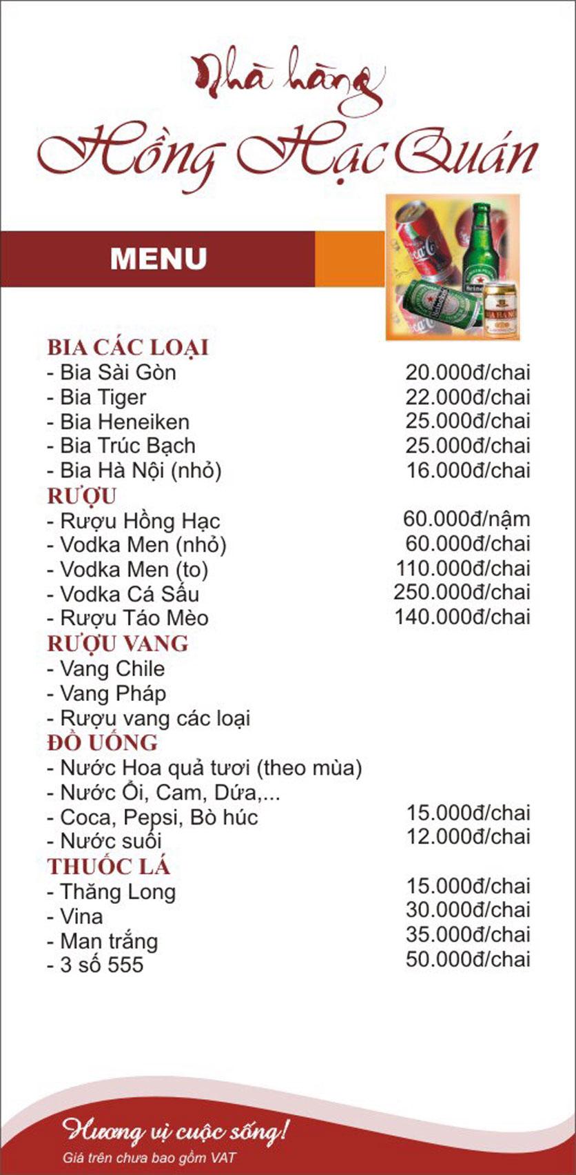 Menu Hồng Hạc - Tây Sơn 4