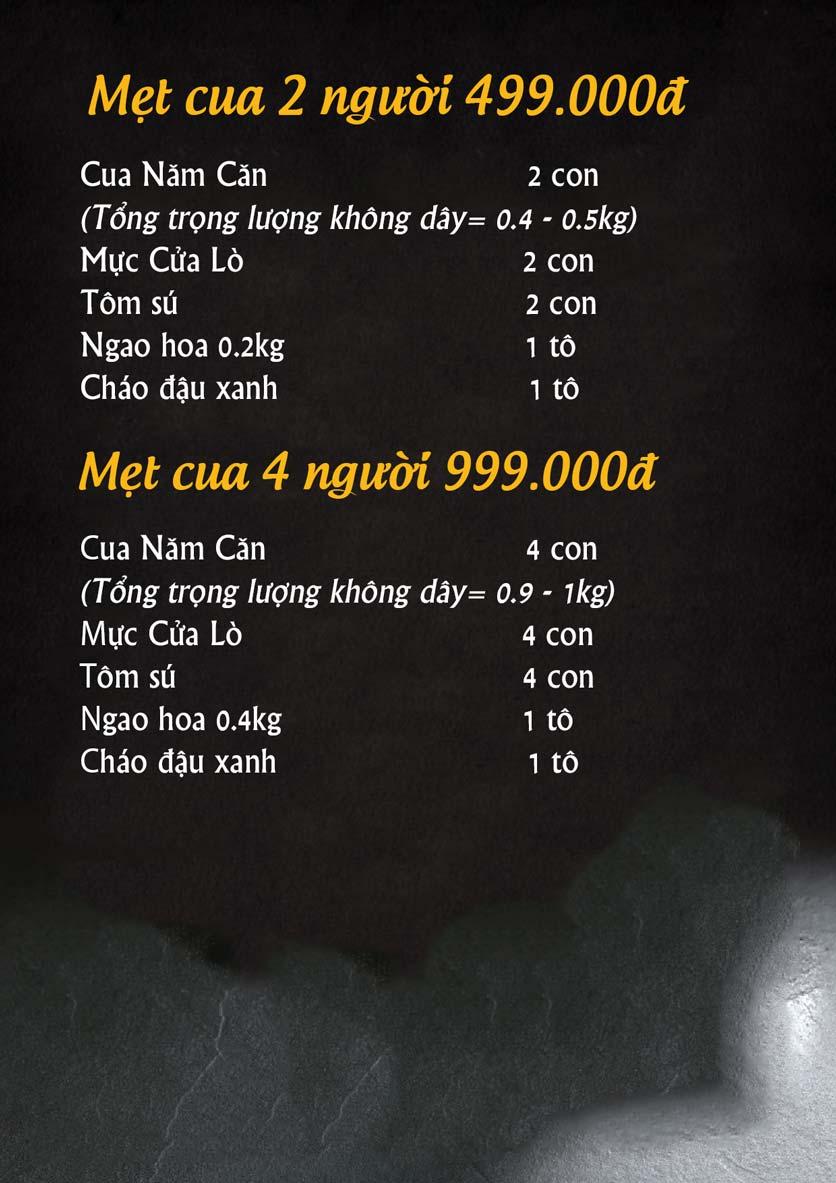 Menu Hải Sản Cua Bay - Đỗ Quang   1