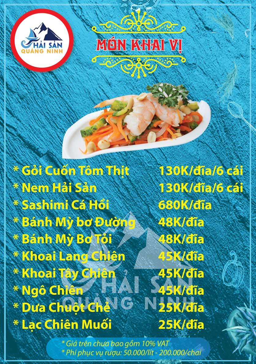 Menu Hải sản Quảng Ninh - Nguyễn Tuân 1
