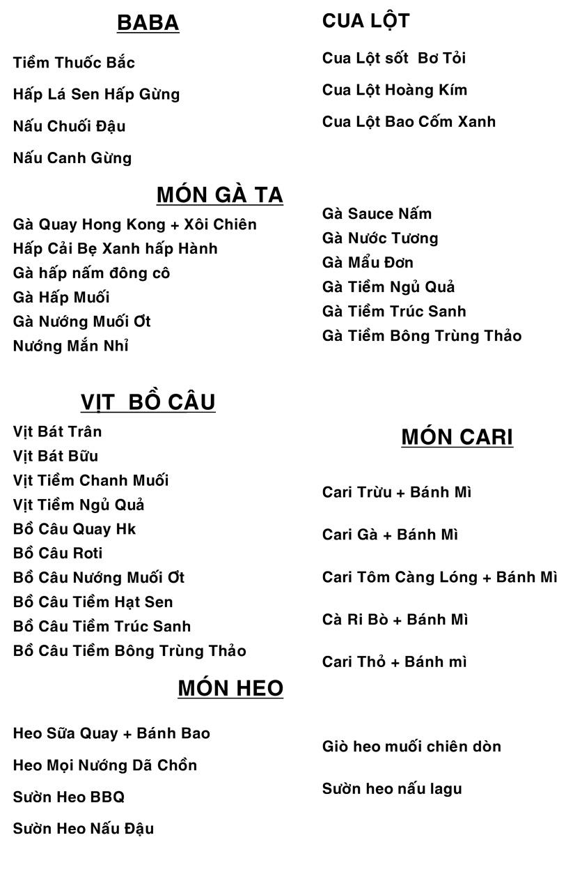 Menu Hương Cau 1 - Lê Văn Sỹ 40