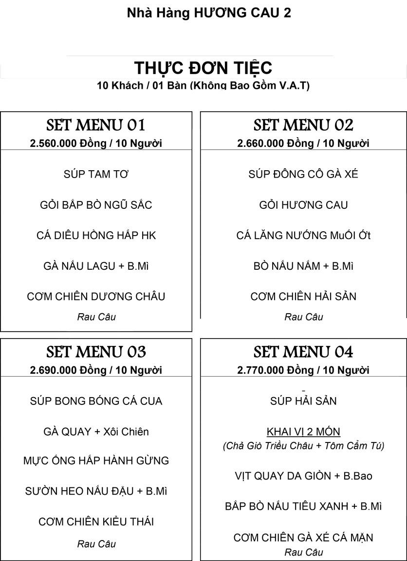 Menu Hương Cau 2 - Tân Canh 28