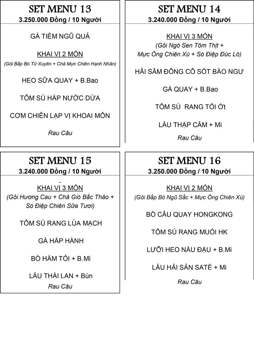 Menu Hương Cau 2 - Tân Canh 31