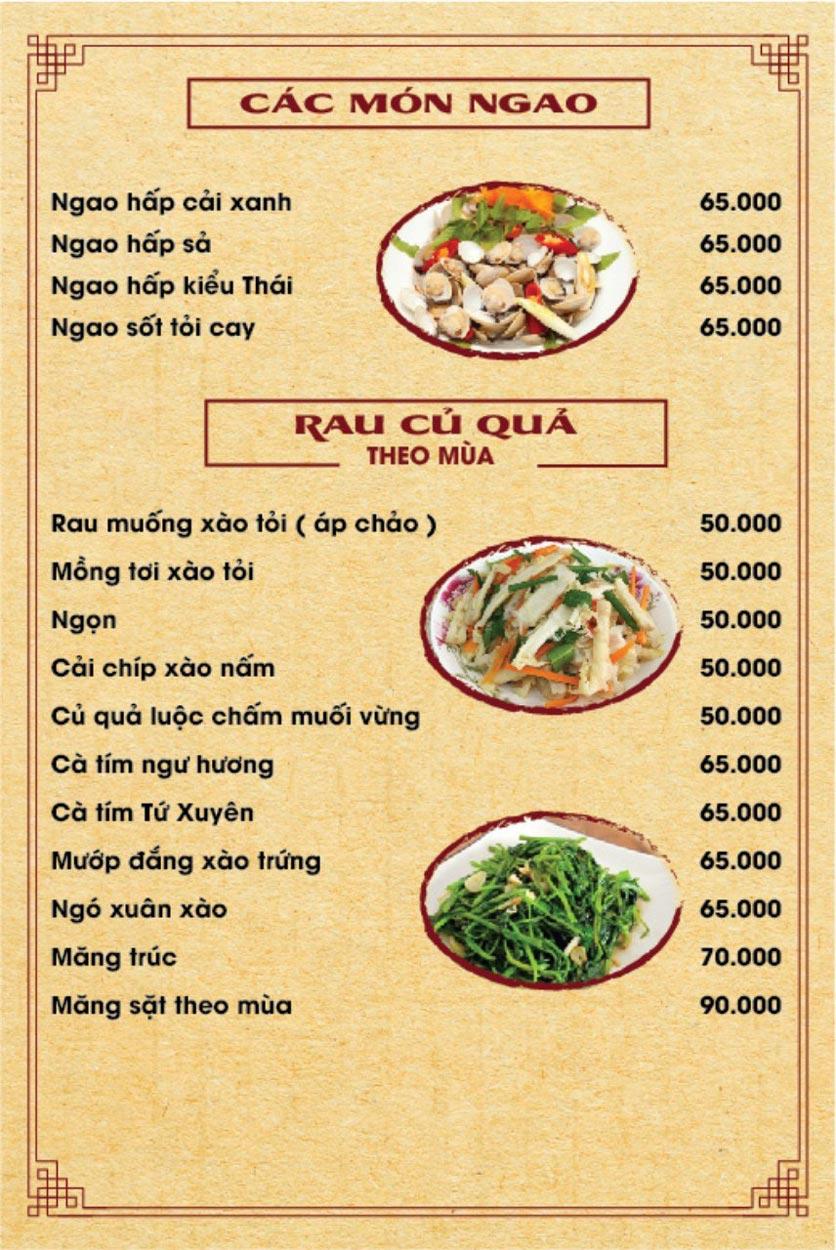Menu Hương Quê - Nguyễn Phong Sắc 1