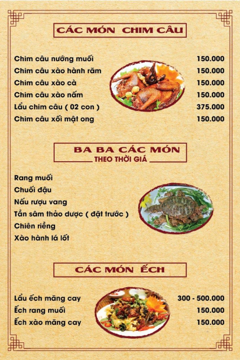 Menu Hương Quê - Nguyễn Phong Sắc 5