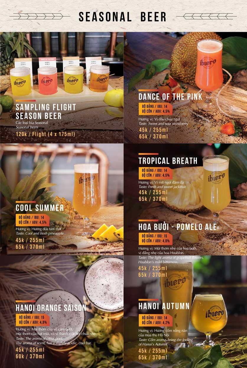 Menu iBiero Craft Beer Station – Lê Văn Lương 12