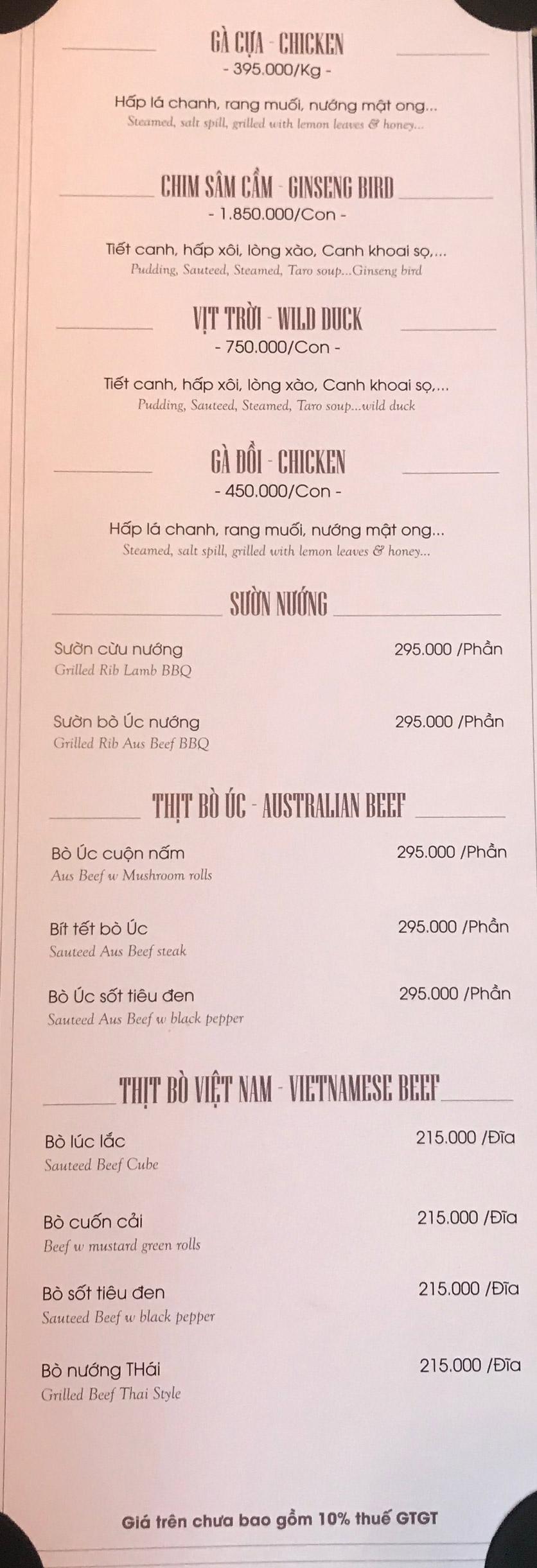 Menu Hai Lúa Sài Gòn - Beer & Restaurant - Nguyễn Chánh 10