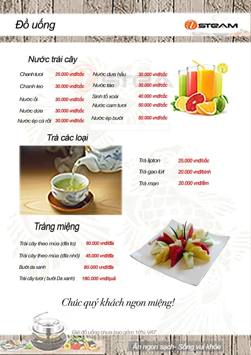 Menu iSteam - Nguyễn Thị Định 15