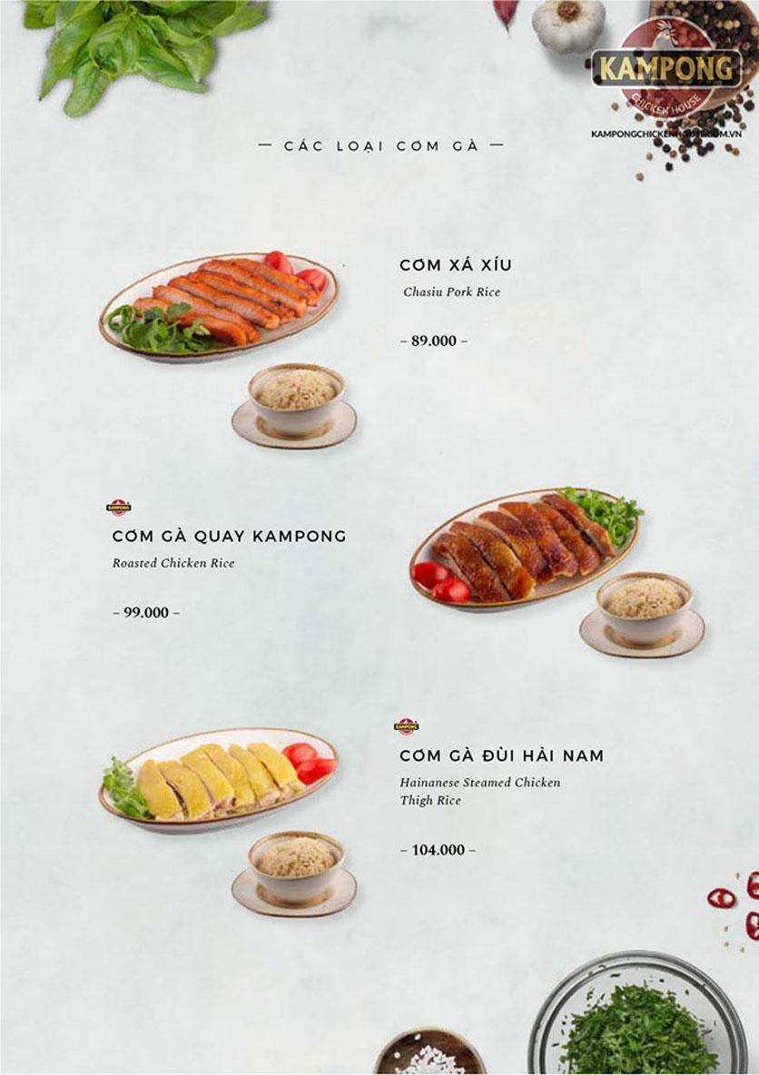 Menu Kampong Chicken House - Cơm gà Hải Nam - Lò Đúc 22