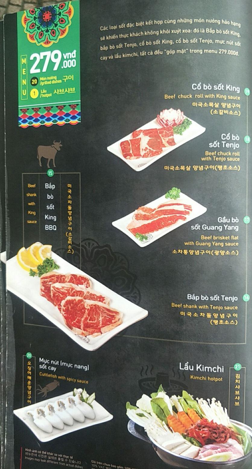 Menu King BBQ - Nguyễn Văn Cừ 2