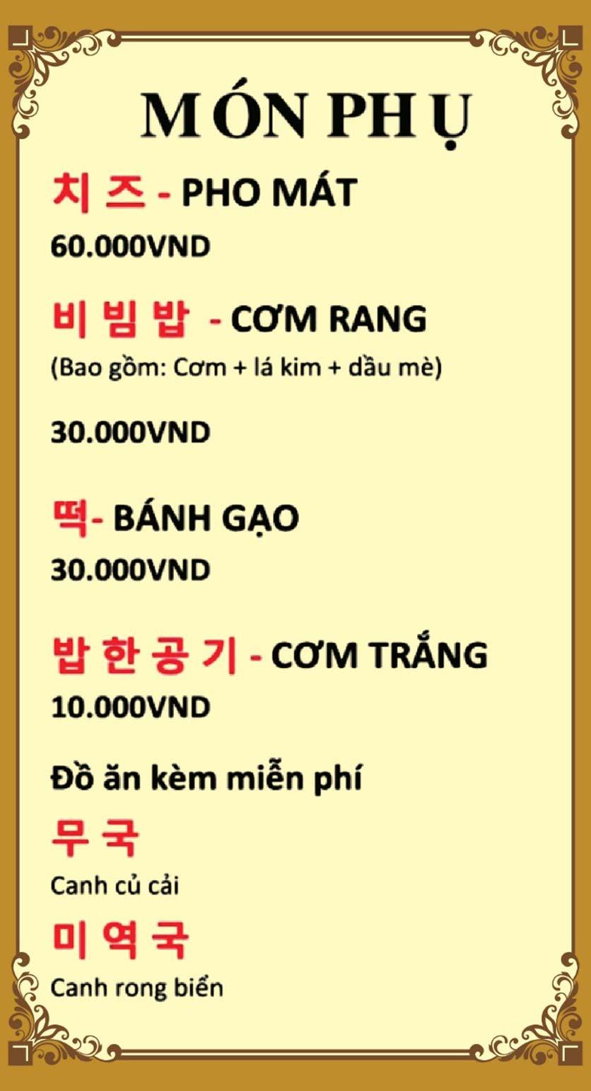 Menu King Dakgalbi - Nguyễn Khang 19