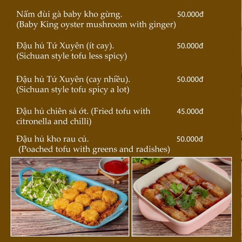 Menu KVegetarian Restaurant & Café - Phan Đăng Lưu 12
