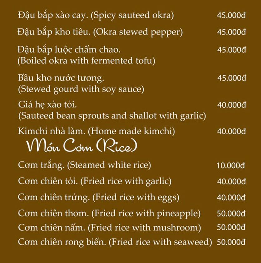 Menu KVegetarian Restaurant & Café - Phan Đăng Lưu 14