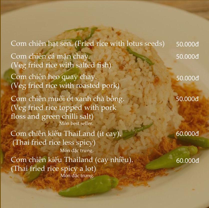 Menu KVegetarian Restaurant & Café - Phan Đăng Lưu 15