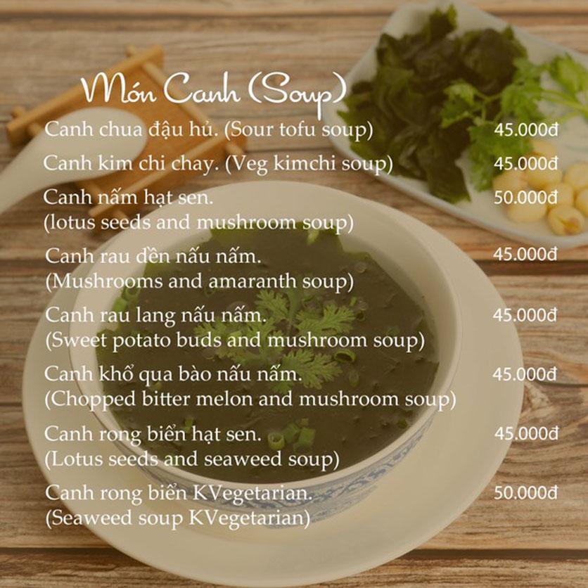 Menu KVegetarian Restaurant & Café - Phan Đăng Lưu 16