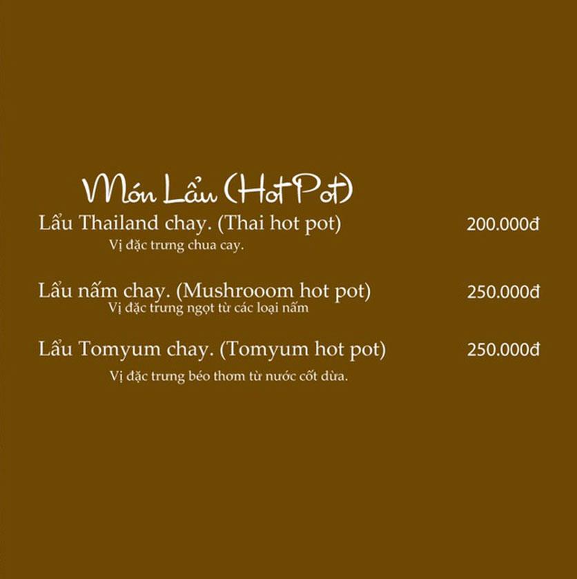 Menu KVegetarian Restaurant & Café - Phan Đăng Lưu 17