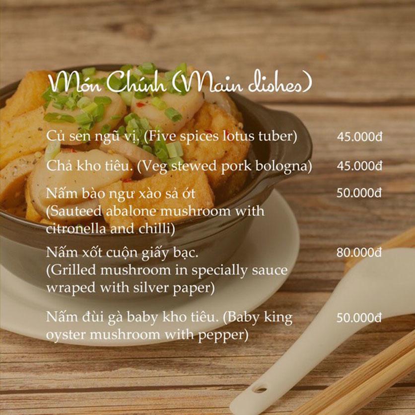 Menu KVegetarian Restaurant & Café - Phan Đăng Lưu 8