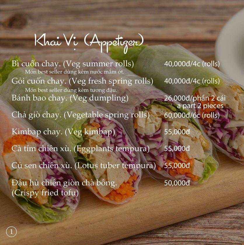 Menu KVegetarian Restaurant & Café - Phan Đăng Lưu 1