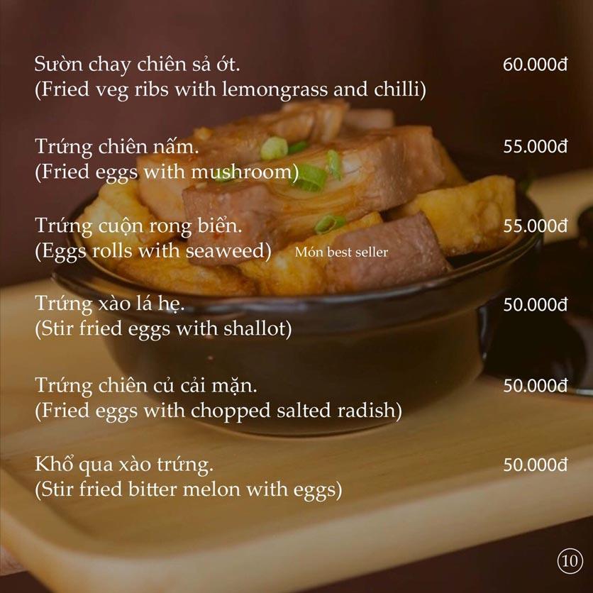 Menu KVegetarian Restaurant & Café - Phan Đăng Lưu 10