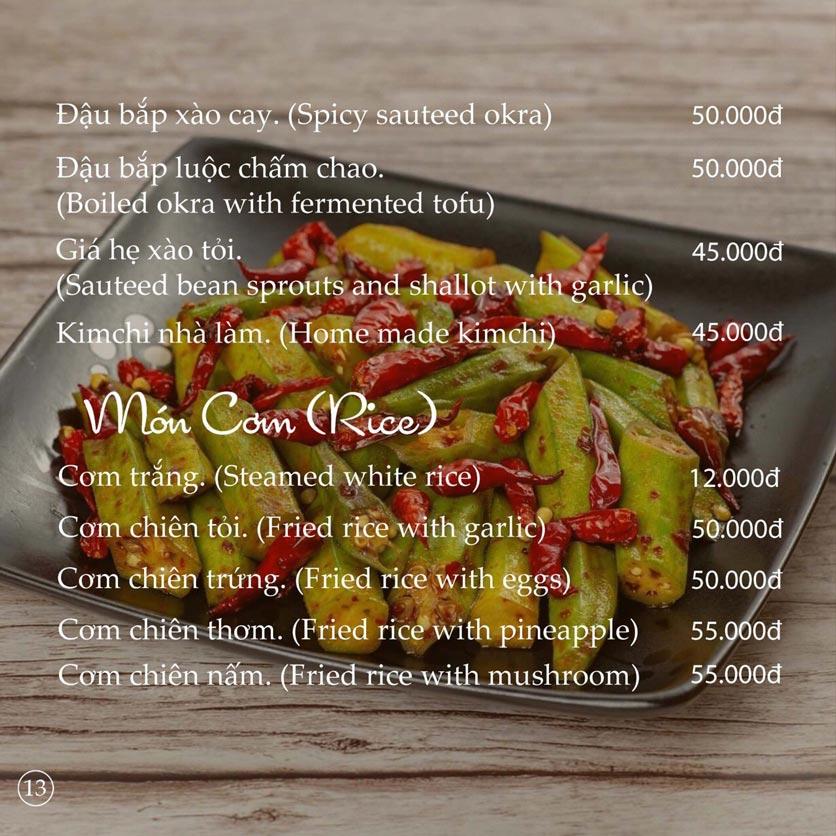 Menu KVegetarian Restaurant & Café - Phan Đăng Lưu 13
