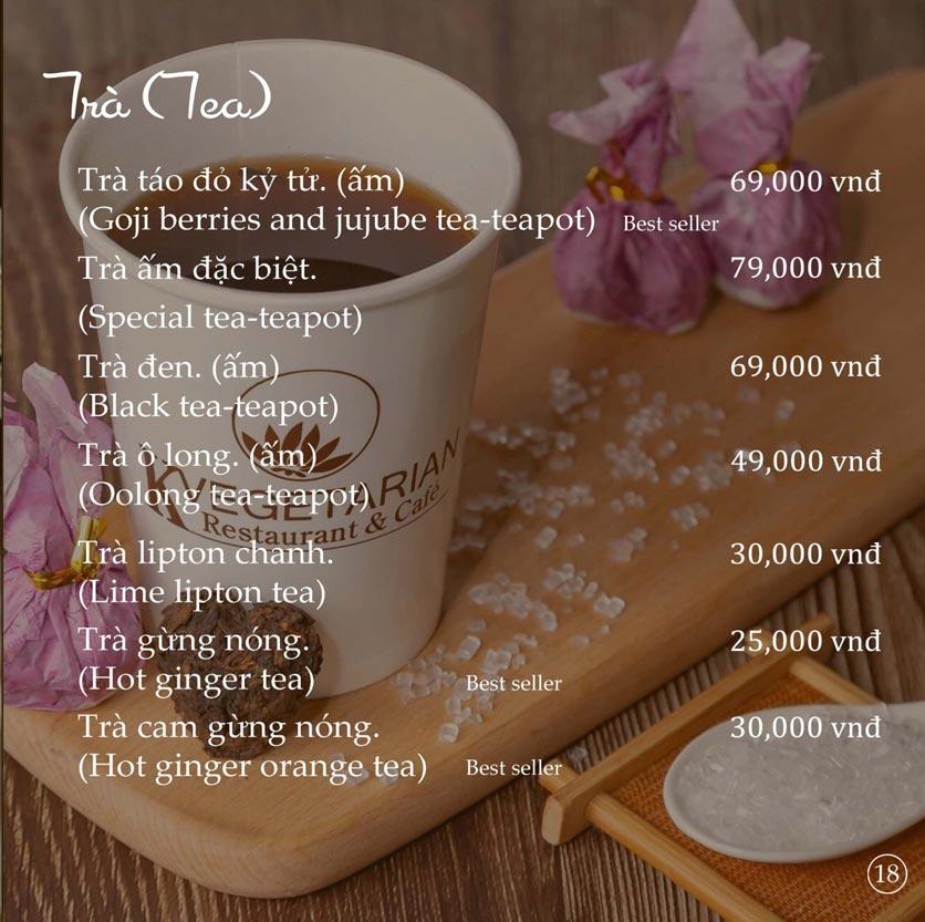 Menu KVegetarian Restaurant & Café - Phan Đăng Lưu 18