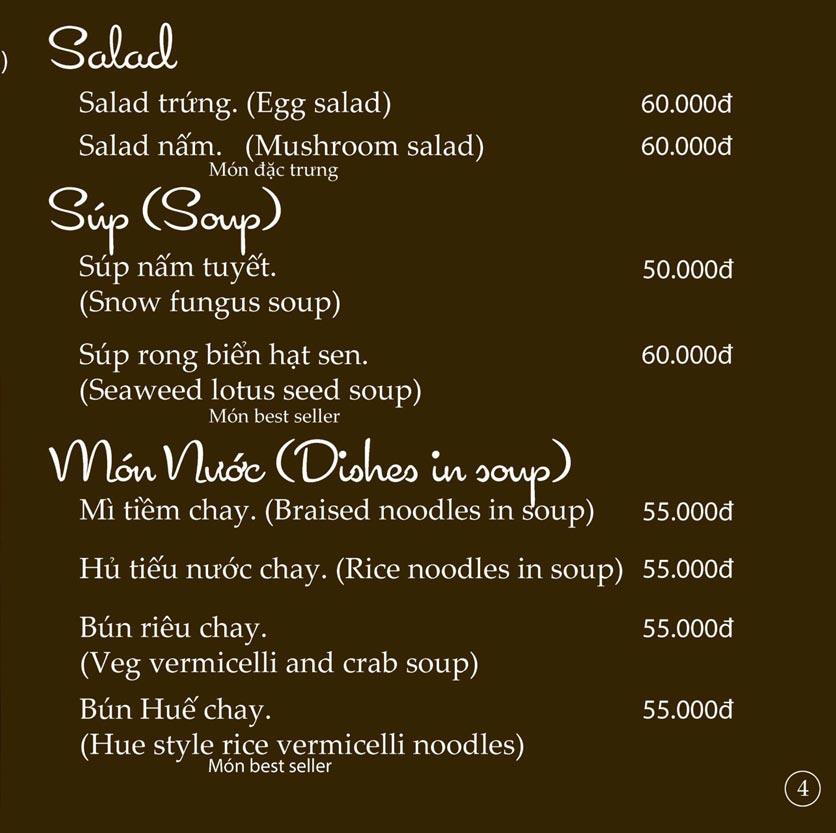 Menu KVegetarian Restaurant & Café - Phan Đăng Lưu 4