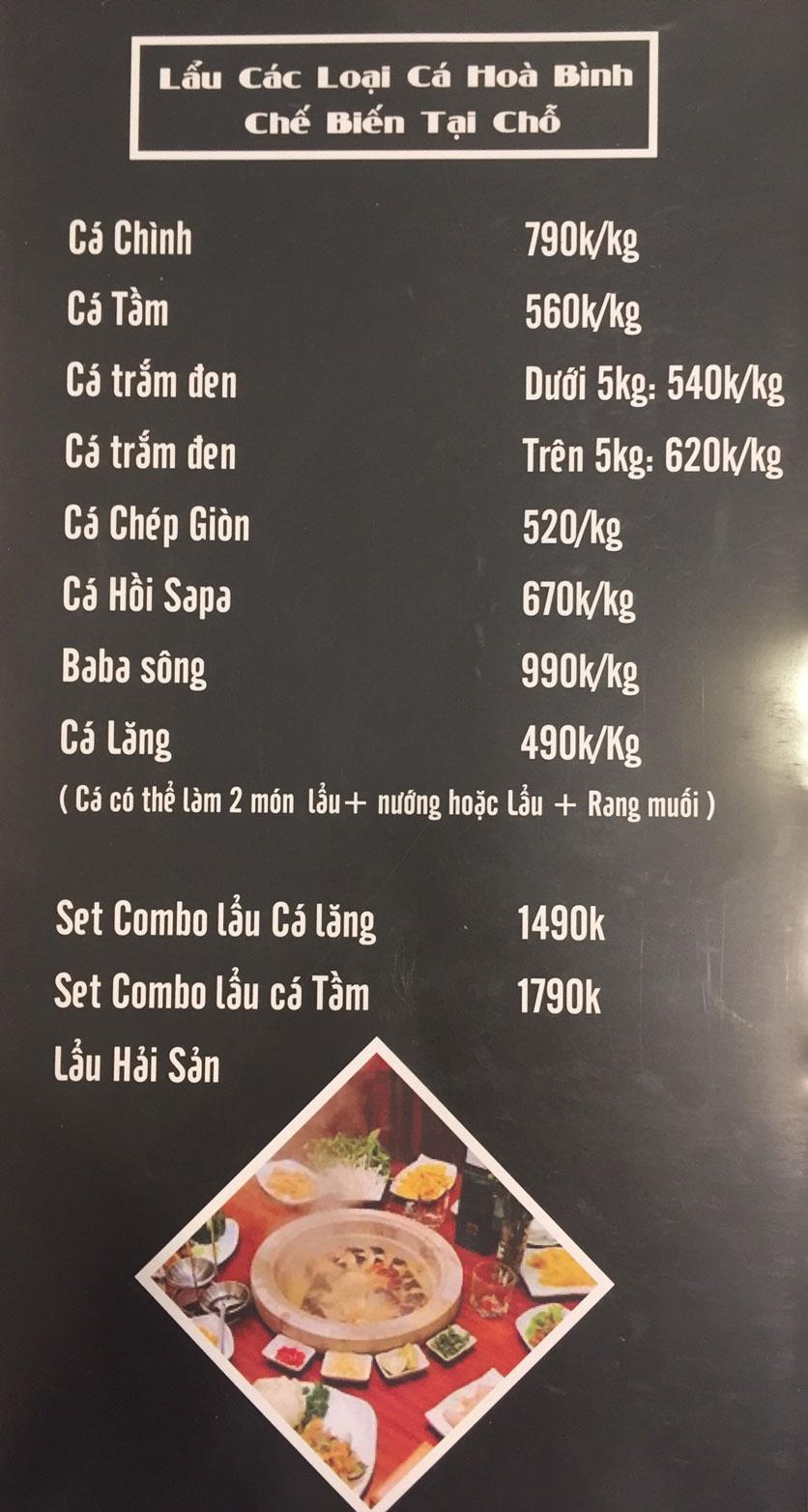 Menu Lam Huyền - Đặc sản lẩu hơi nồi đá - Hoàng Quốc Việt  1