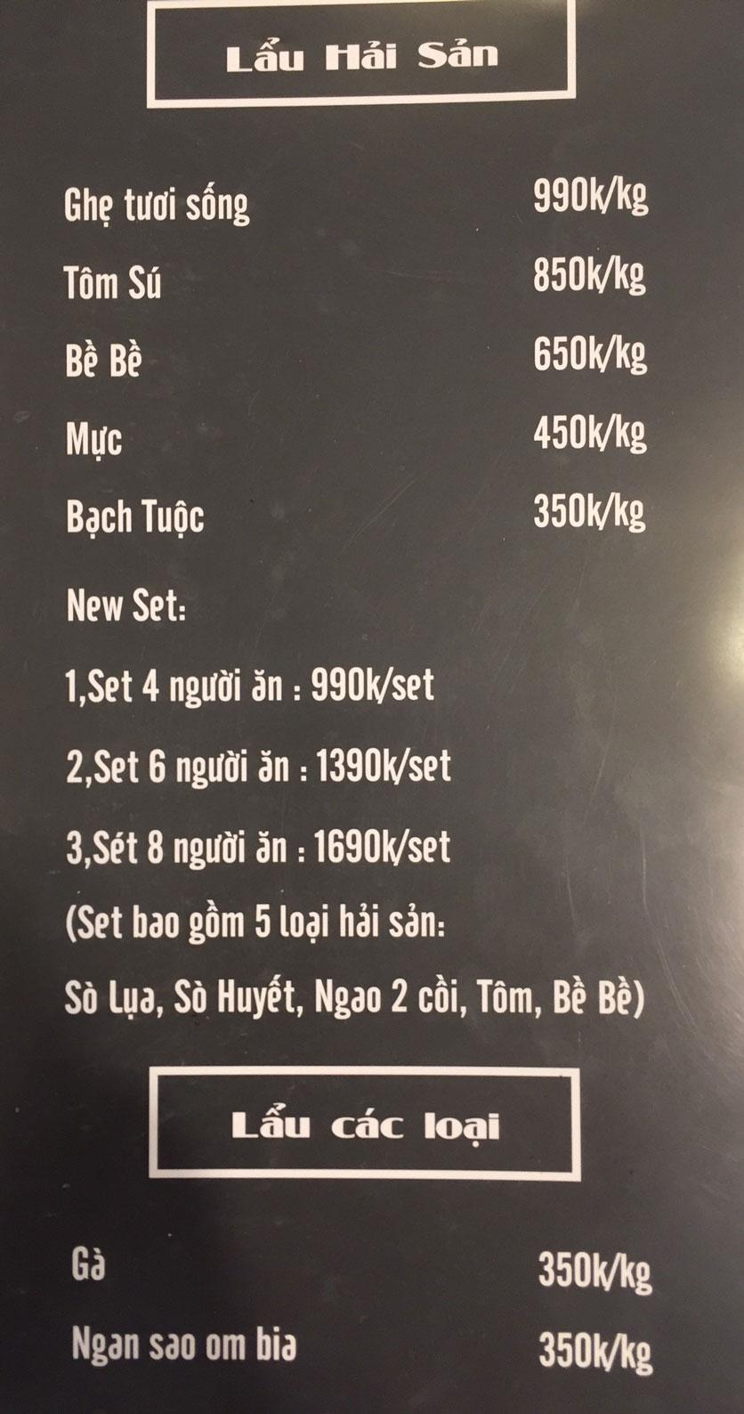 Menu Lam Huyền - Đặc sản lẩu hơi nồi đá - Hoàng Quốc Việt  2