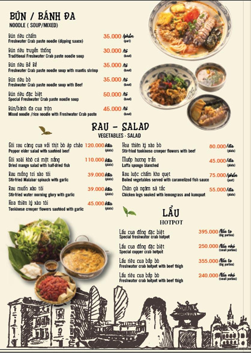 Menu Lẩu Cua Đồng - Hàm Long 1