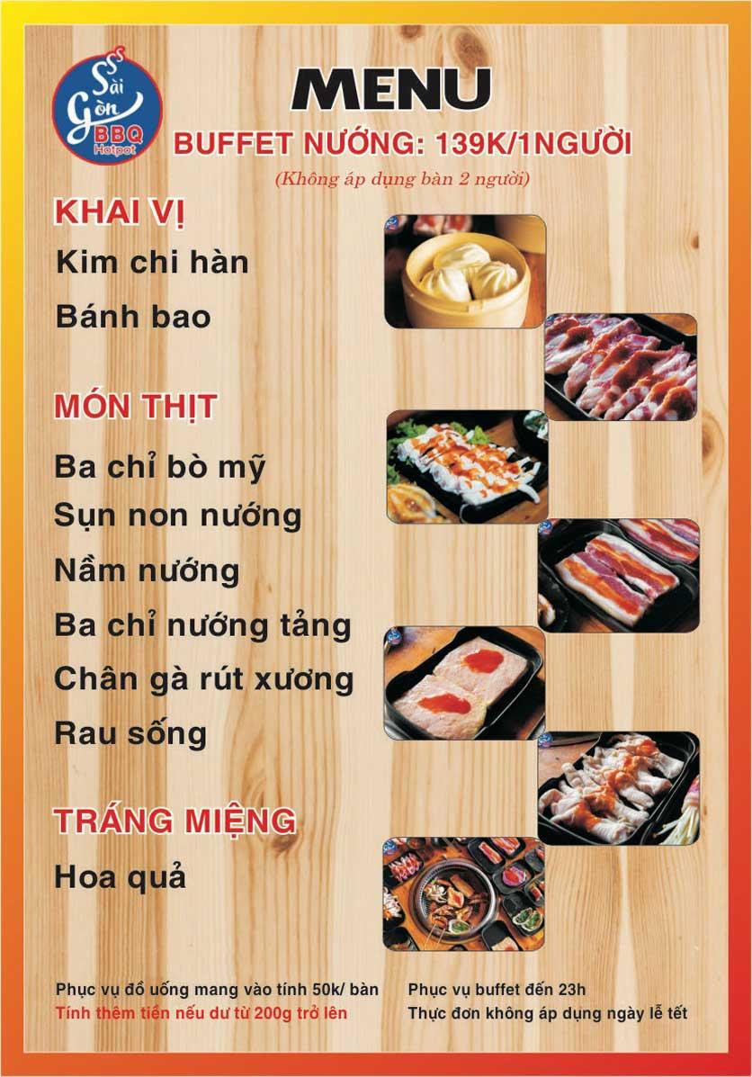Menu Lẩu Nướng Không Khói Sài Gòn – 188 Thượng Đình  1