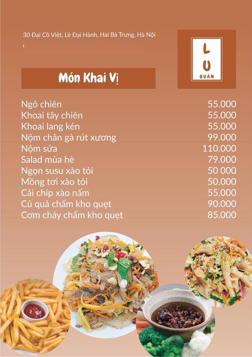Menu Lu Quán - Đại Cồ Việt 2