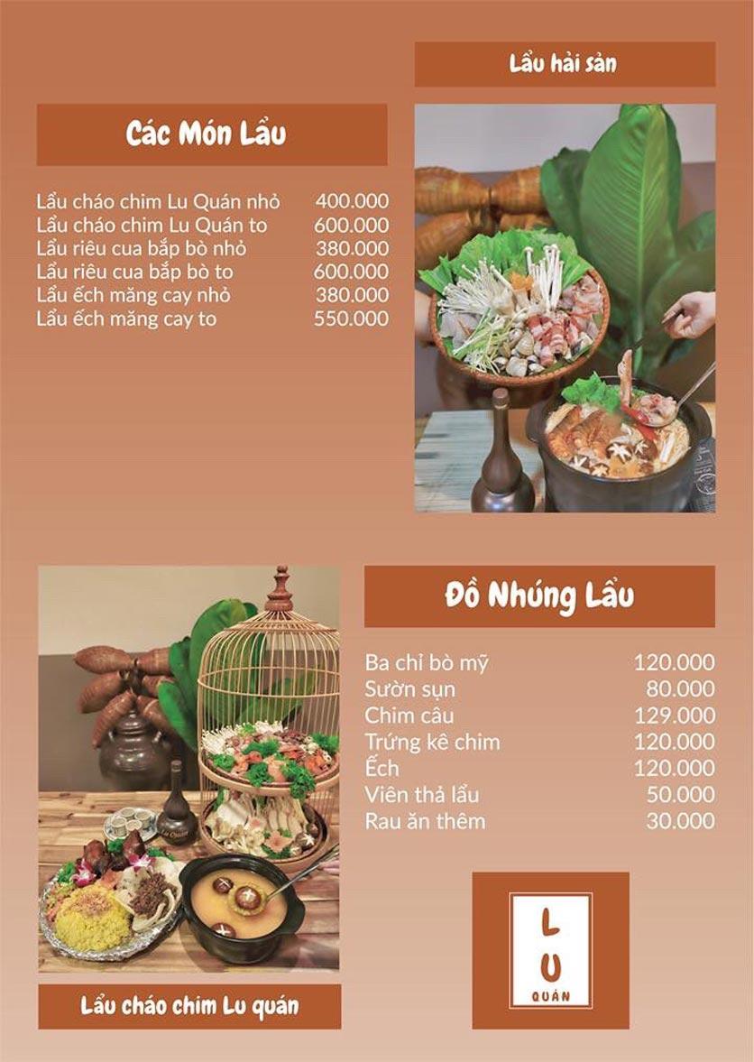 Menu Lu Quán - Đại Cồ Việt 5